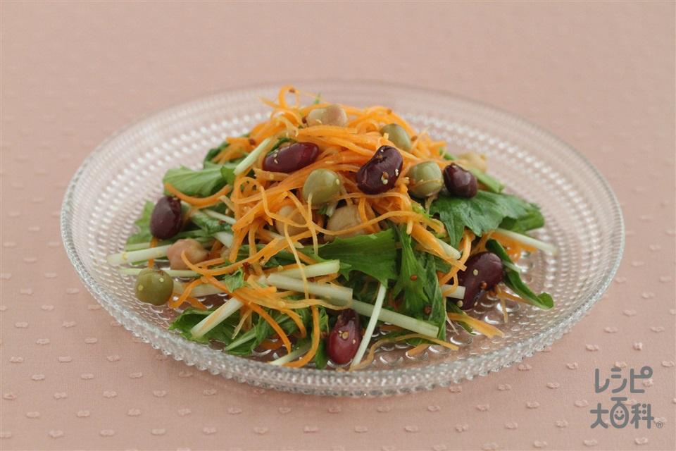 ミックスビーンズとにんじんと水菜のマスタードサラダ(ミックスビーンズ缶+にんじんを使ったレシピ)