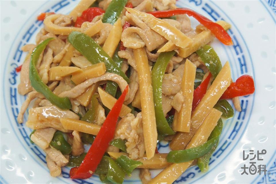 ごま油香る青椒肉絲(豚ロース薄切り肉+たけのこの水煮を使ったレシピ)
