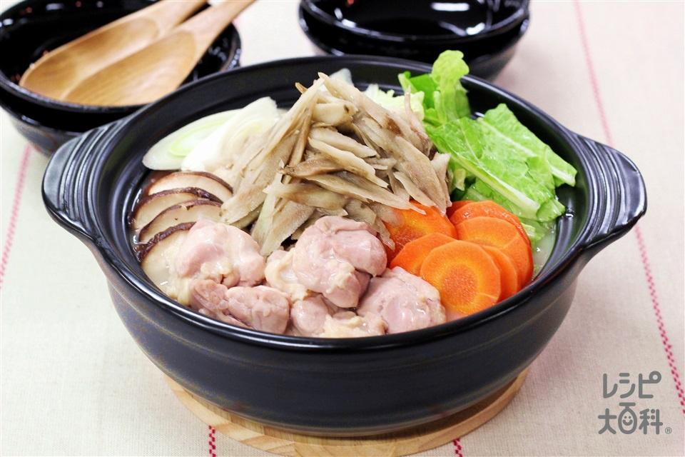 たっぷりごぼうの白湯鍋(鶏もも肉+白菜を使ったレシピ)