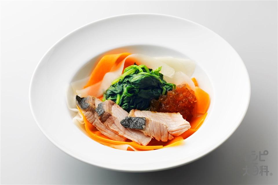 ぶりしゃぶサラダのだしジュレのせ(ぶり+大根を使ったレシピ)