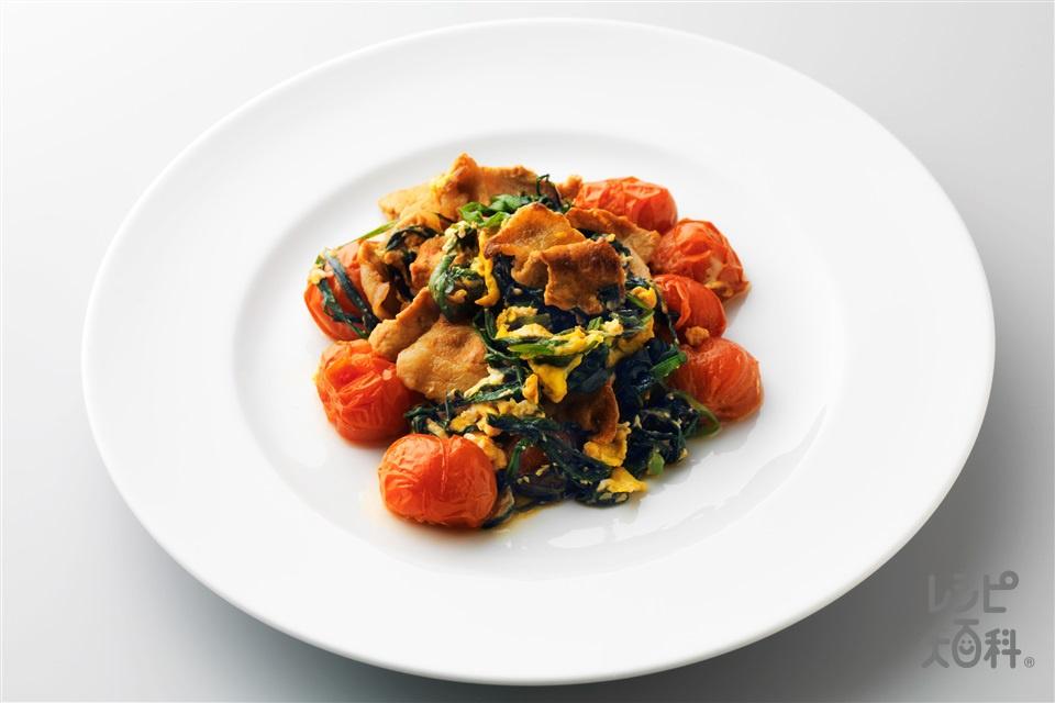 豚肉とトマトのにら卵(豚ロース薄切り肉+ミニトマトを