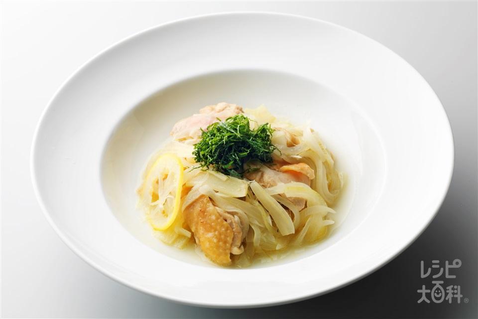 鶏肉の香味レンジ蒸し(鶏むね肉(皮つき)+玉ねぎを使ったレシピ)