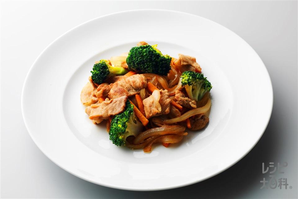 豚肉とブロッコリーの和風炒め(豚もも薄切り肉+玉ねぎを使ったレシピ)
