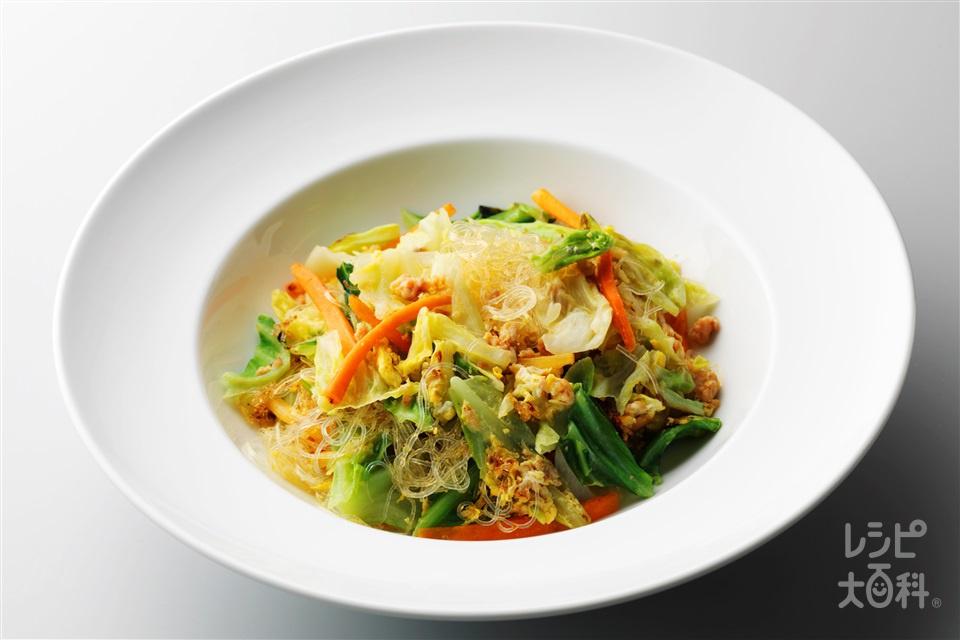 キャベツの春雨炒め(鶏ひき肉+キャベツを使ったレシピ)