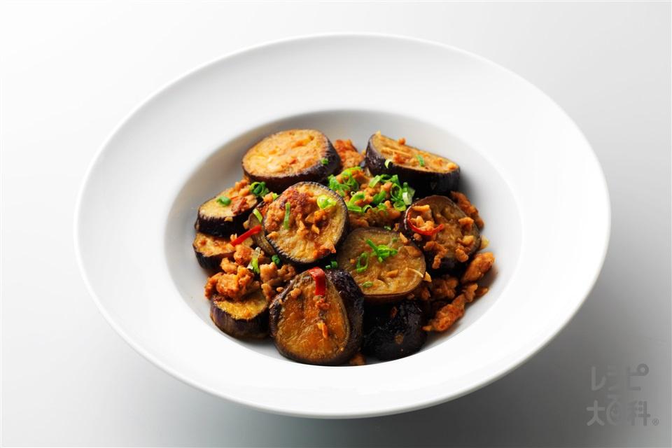 なすとひき肉のピリ辛炒め(なす+鶏ひき肉を使ったレシピ)