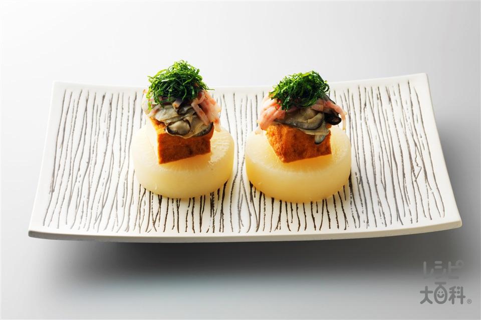 牡蠣と大根の蒸しもの(大根+厚揚げを使ったレシピ)