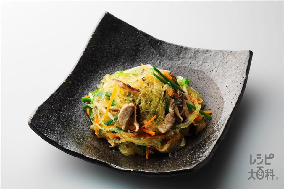 シンガポールビーフン(豚もも赤身薄切り肉+もやしを使ったレシピ)