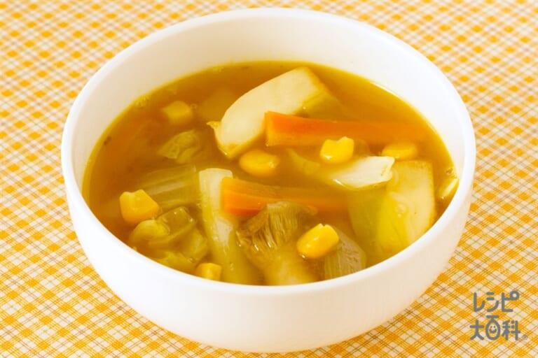 白菜と玉ねぎのカレー風味スープ