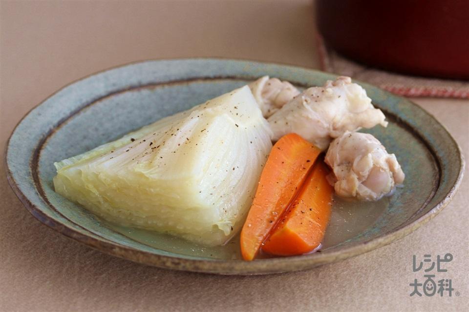 白菜と手羽元のポトフ(鶏手羽元+白菜の芯を使ったレシピ)