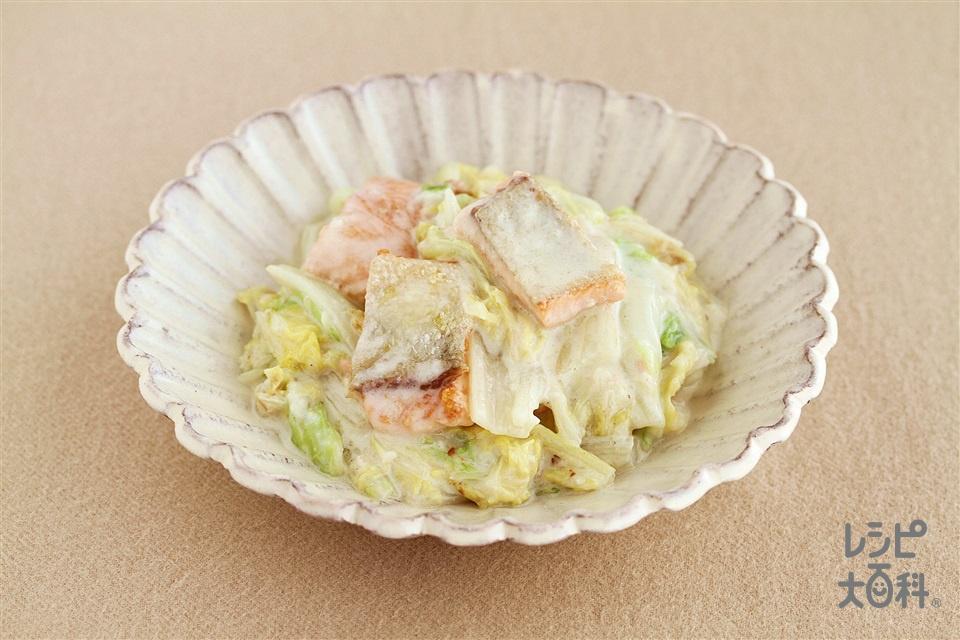 鮭と白菜のクリーム煮(白菜の葉+生ざけ(切り身)を使ったレシピ)