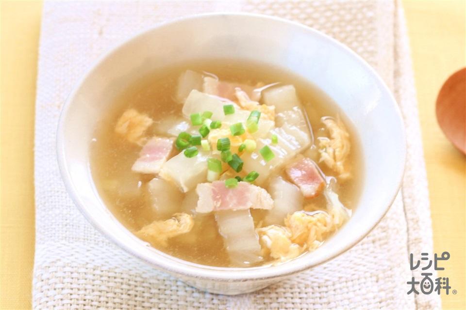白菜と卵の和風スープ(白菜の芯+卵を使ったレシピ)