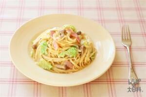 白菜とベーコンの和風クリームパスタ