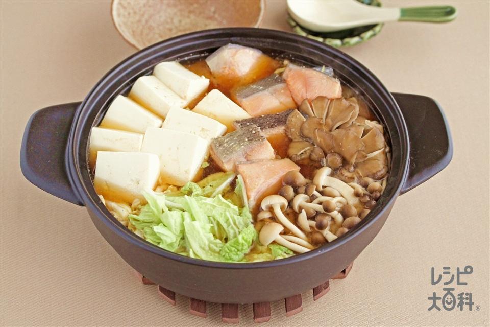 鮭ときのこの濃厚味噌鍋(さけ+木綿豆腐を使ったレシピ)