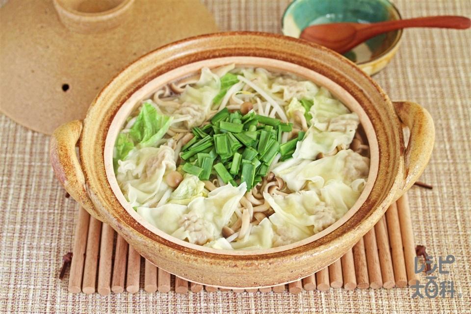 ワンタン鍋(白菜+もやしを使ったレシピ)