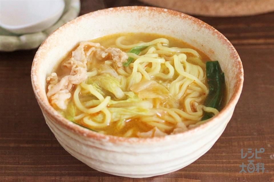 豚キムチ鍋シメラーメン(中華めんを使ったレシピ)