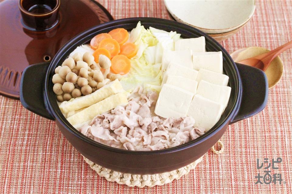 濃厚豆乳鍋(豚バラ薄切り肉+白菜を使ったレシピ)