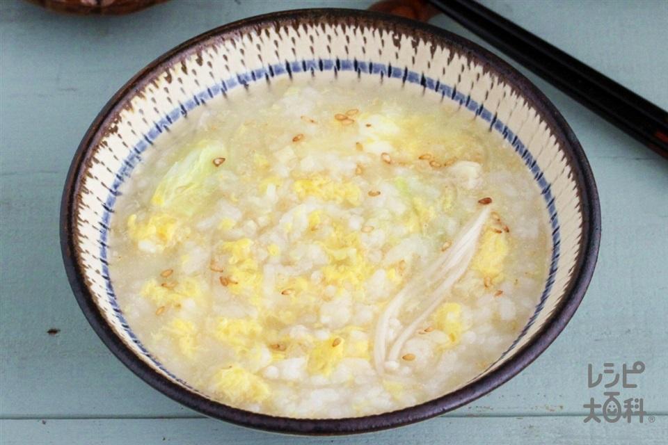 中華風しょうが鍋シメ雑炊(ご飯+溶き卵を使ったレシピ)