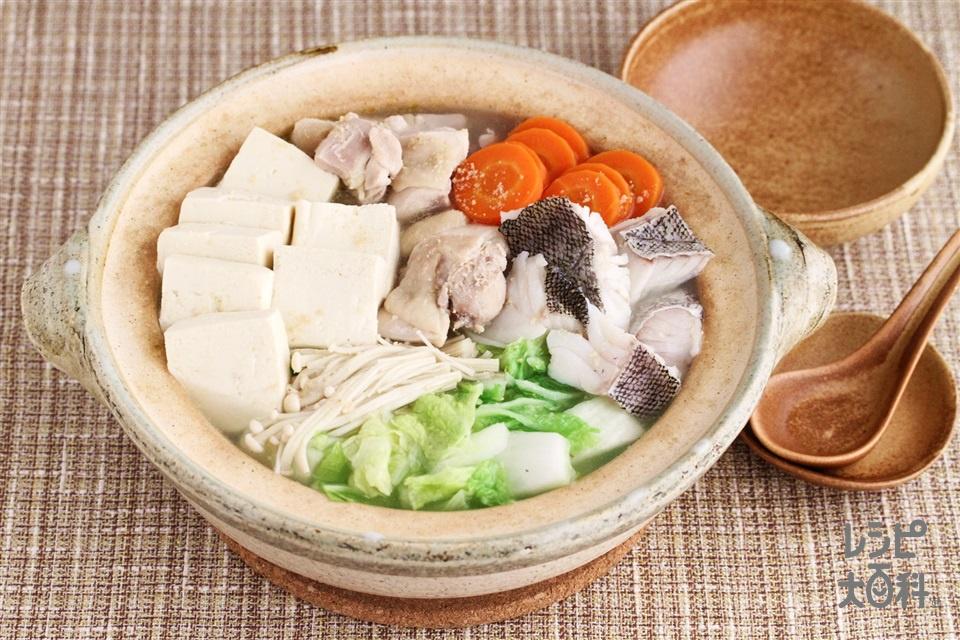 ちゃんこ鍋(鶏もも肉+たらを使ったレシピ)