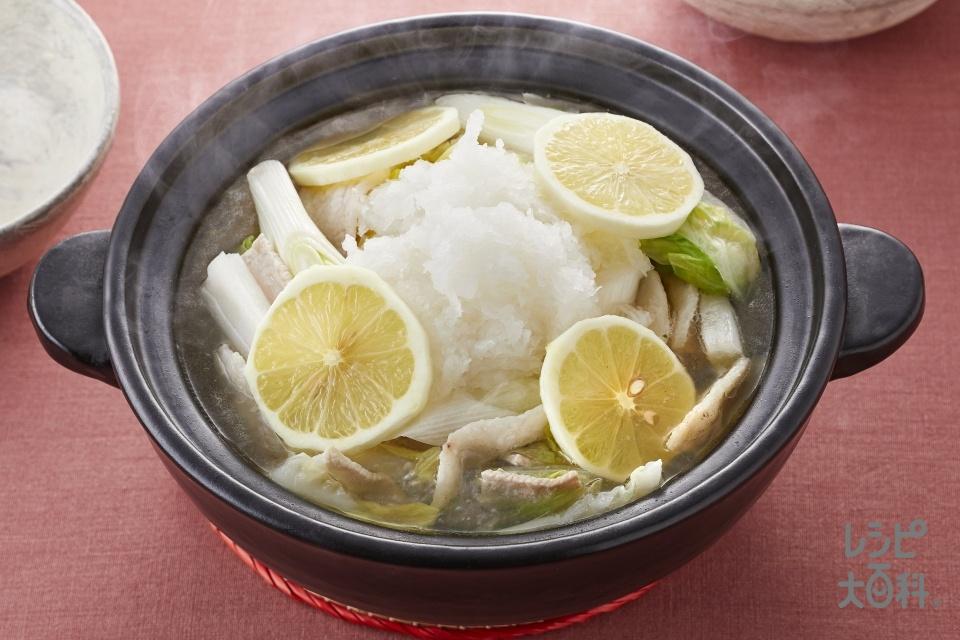 あっさりうま塩レモン鍋(白菜+豚バラ薄切り肉を使ったレシピ)
