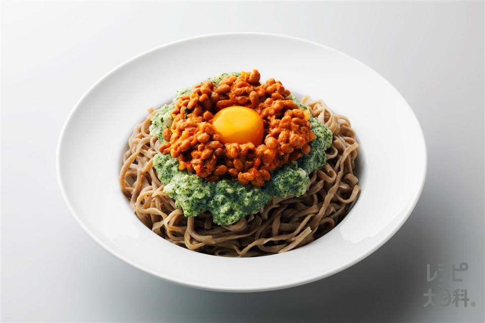茶とろ納豆そば(生そば+長いもを使ったレシピ)