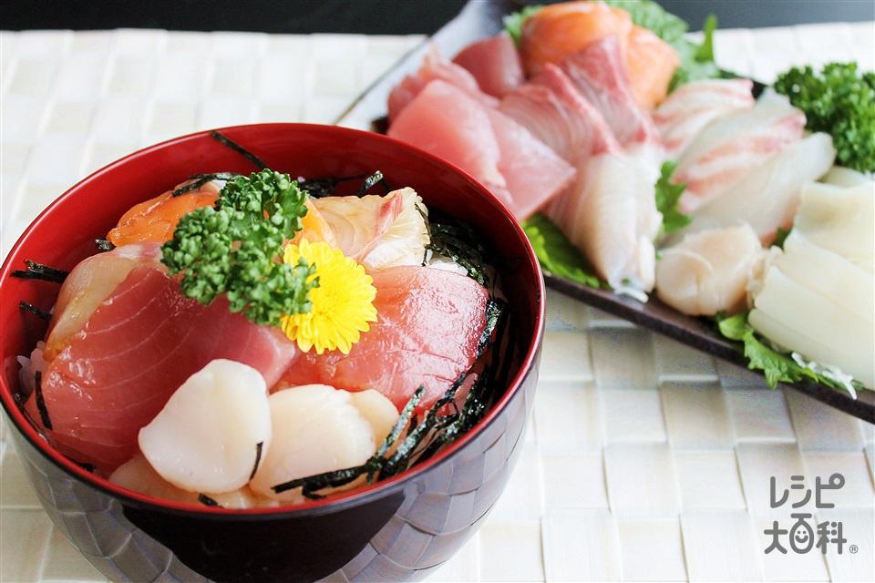 お刺身漬丼(まぐろの赤身+ご飯を使ったレシピ)