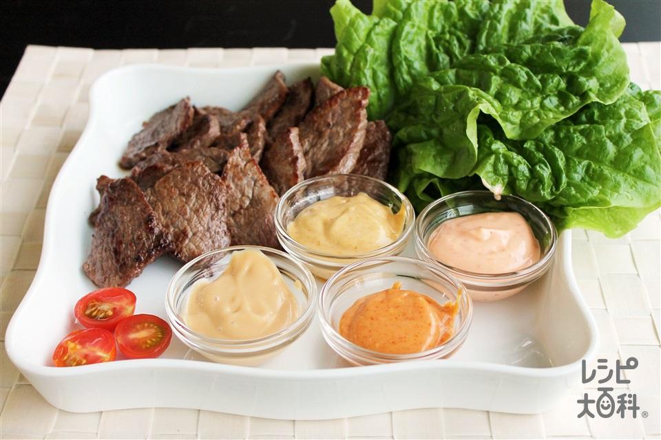 焼肉まきまき野菜にぴったりマヨディップ(牛カルビ焼き肉用+サンチュを使ったレシピ)