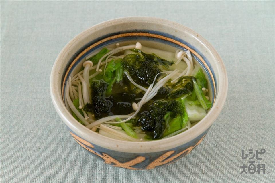 白菜とえのきの和風スープ(白菜+えのきだけを使ったレシピ)