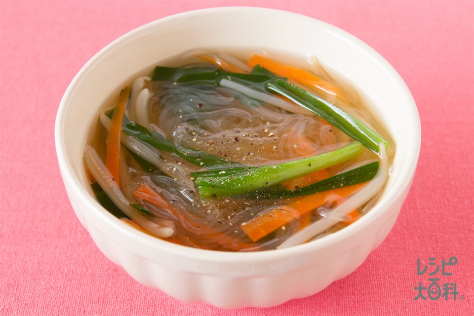 たっぷり野菜の中華風春雨スープ