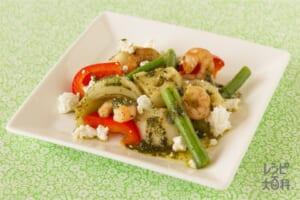 えびと野菜の緑茶入りマリネ