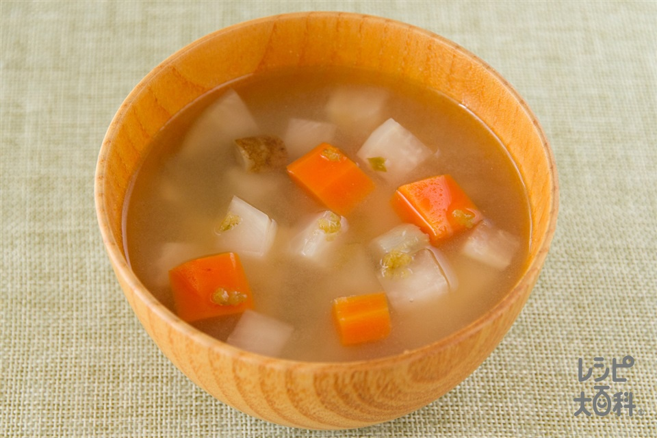 根菜と柚子胡椒の味噌汁