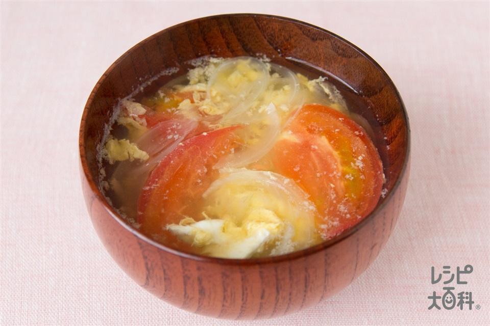 トマトのふんわり卵の味噌汁(トマト+溶き卵を使ったレシピ)