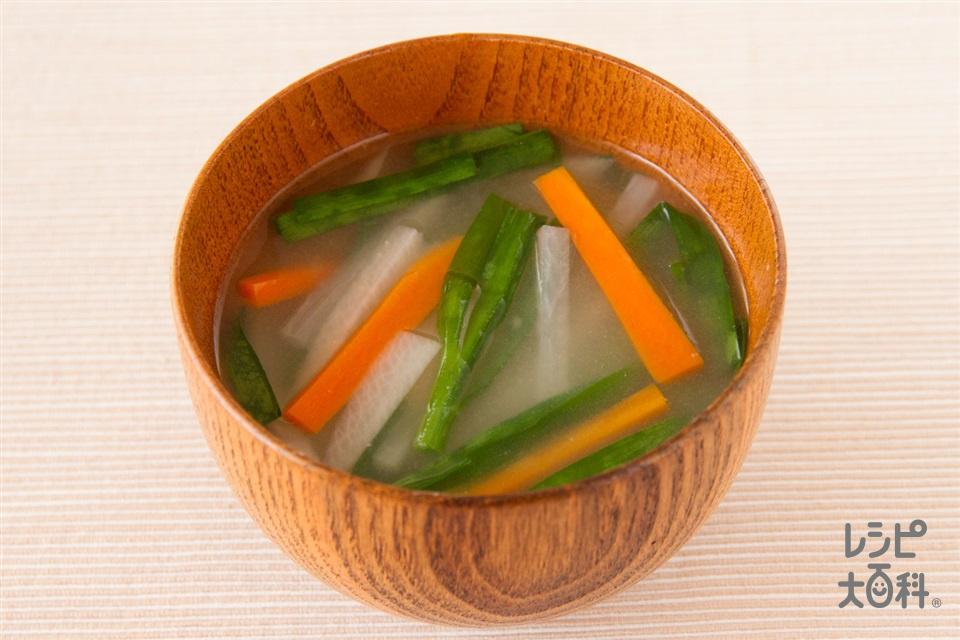 せん切り野菜の味噌汁(大根+にらを使ったレシピ)