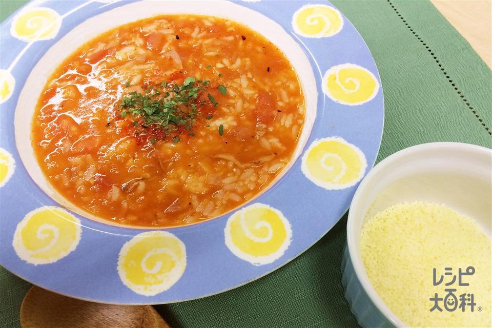 トマトキムチリゾット(ご飯+ベーコンスライスを使ったレシピ)