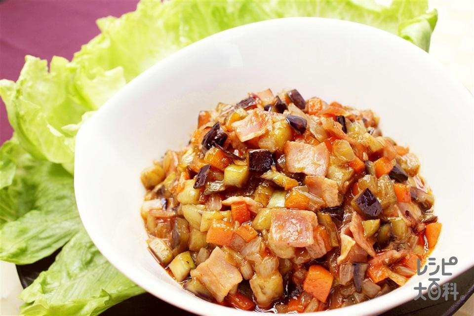 麻婆茄子のレタス包み(なす+玉ねぎを使ったレシピ)