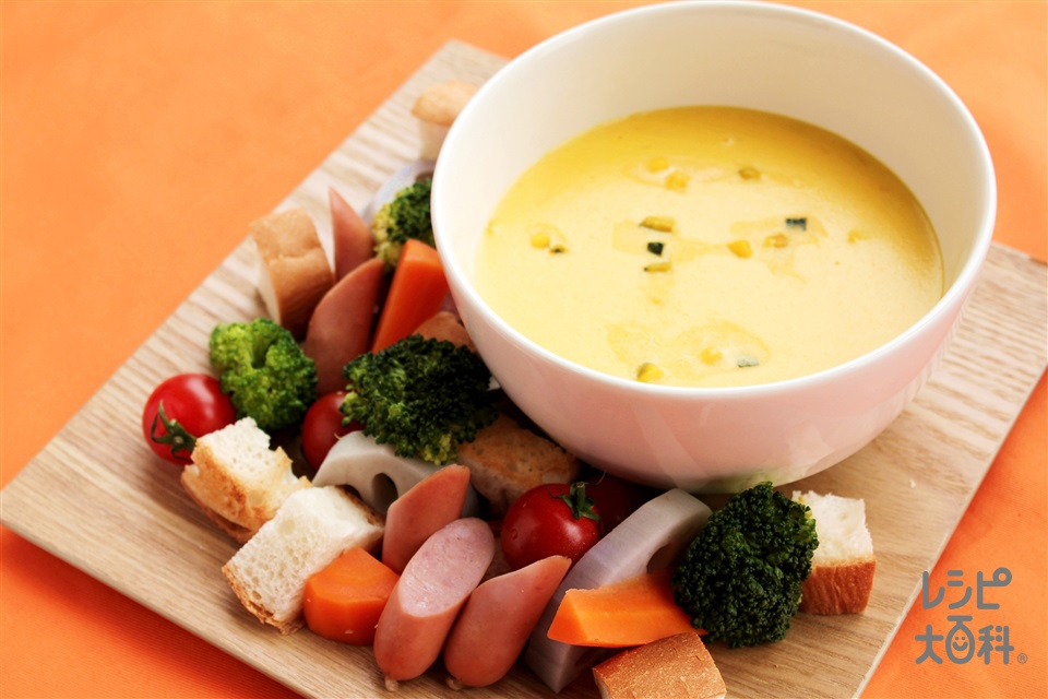 パンプキンスープフォンデュ(牛乳+ピザ用チーズを使ったレシピ)