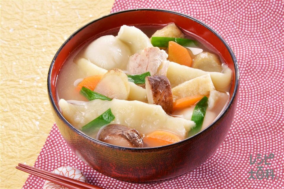 だんご汁(強力粉+豚バラ薄切り肉を使ったレシピ)