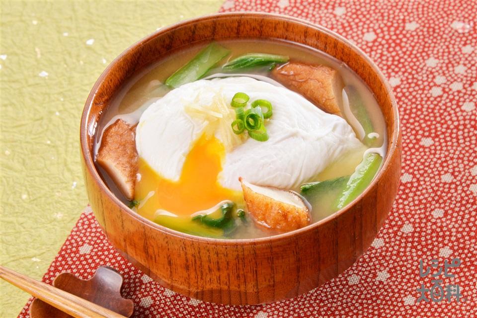 つけあげと落とし卵のみそ汁(さつま揚げ+卵を使ったレシピ)