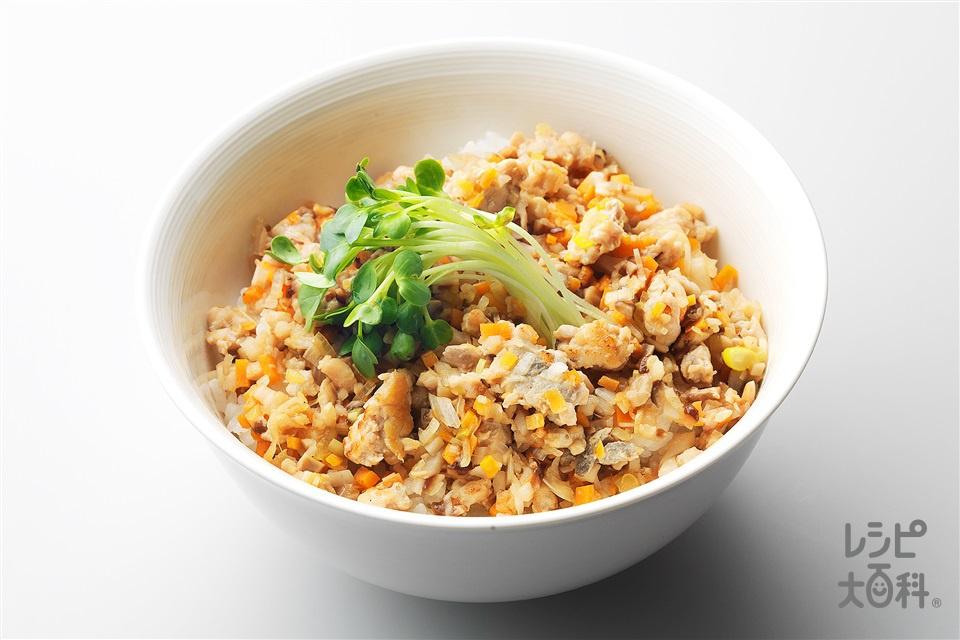 さばの根菜そぼろ丼(さば+長ねぎを使ったレシピ)