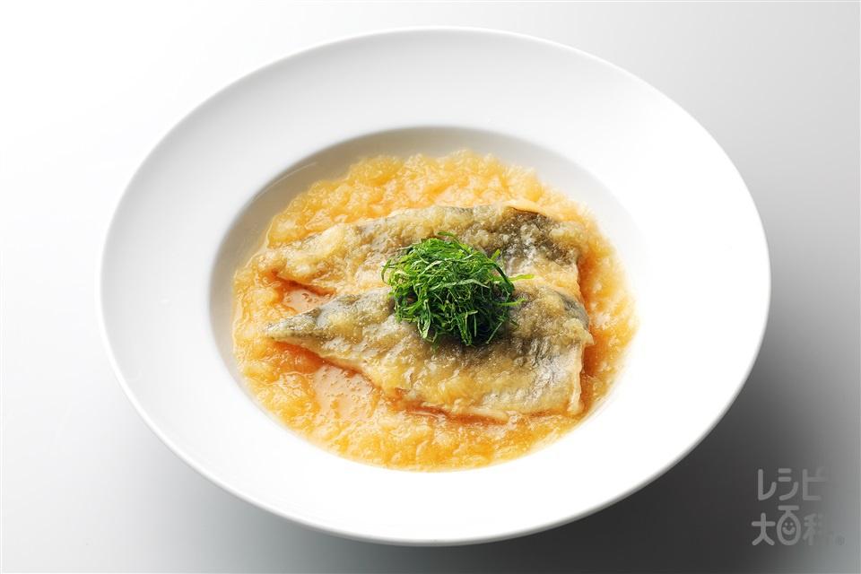 あじのみぞれ煮(あじ三枚おろし+大根おろしを使ったレシピ)