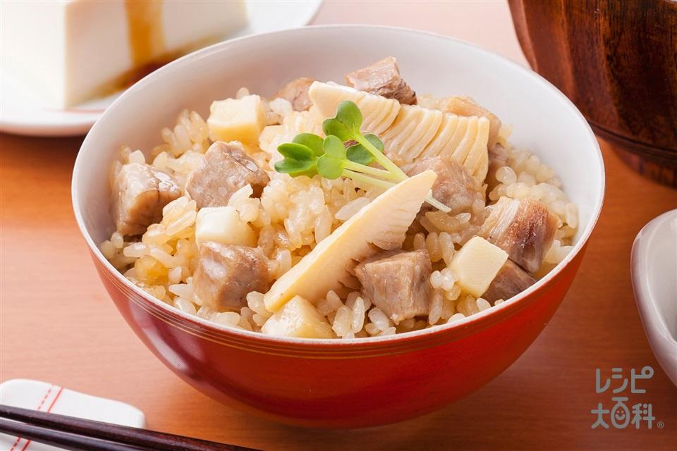 がっつりたけのこだし炊きご飯(米+豚バラかたまり肉を使ったレシピ)
