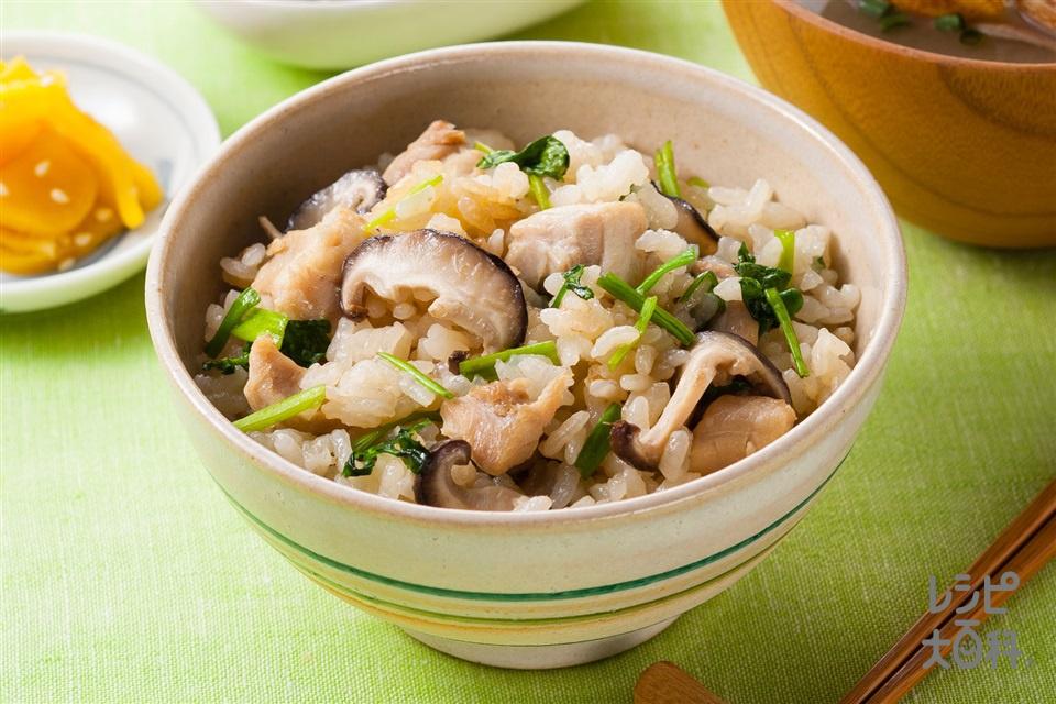 せりと鶏肉のだし炊きご飯(米+鶏もも肉を使ったレシピ)
