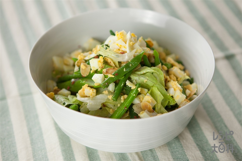 スナップエンドウといんげんのみどりたっぷりトスサラダ(レタス+ゆで卵を使ったレシピ)