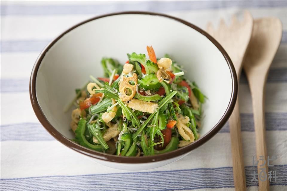 ゴーヤとじゃこの健康トスサラダ(ゴーヤ+ちりめんじゃこを使ったレシピ)