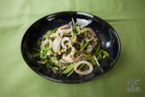 豆もやしといかのちょっぴりピリ辛トスサラダ
