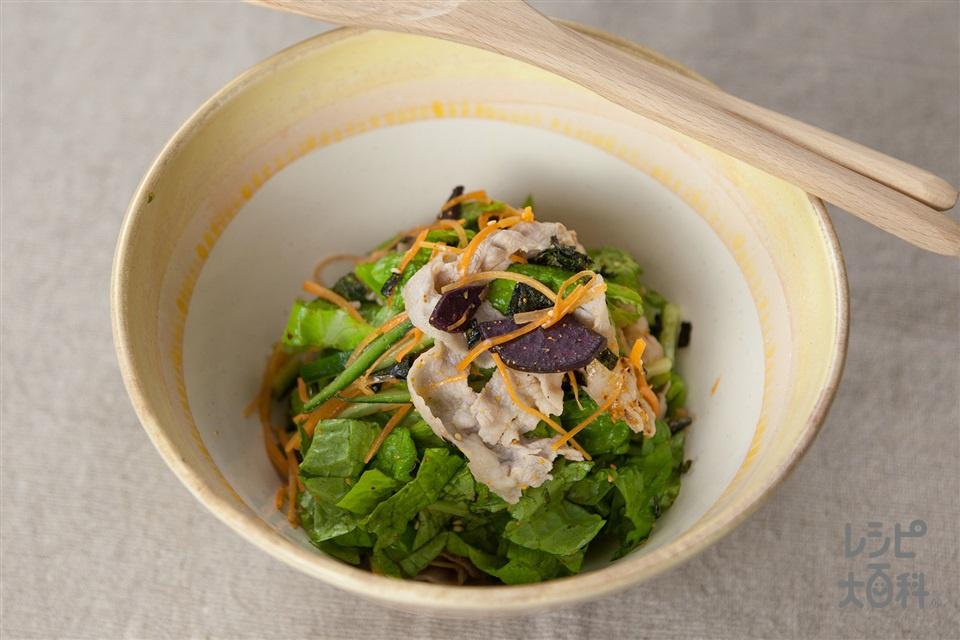 豚しゃぶすりごまトスサラダ(豚しゃぶしゃぶ用肉+にんじんを使ったレシピ)