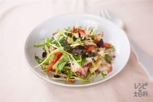 タコと水菜のちょっぴりピリ辛トスサラダ