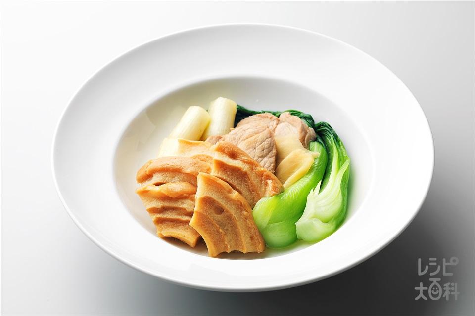 豚肉と車麩の煮付け(豚ももかたまり肉+チンゲン菜を使ったレシピ)