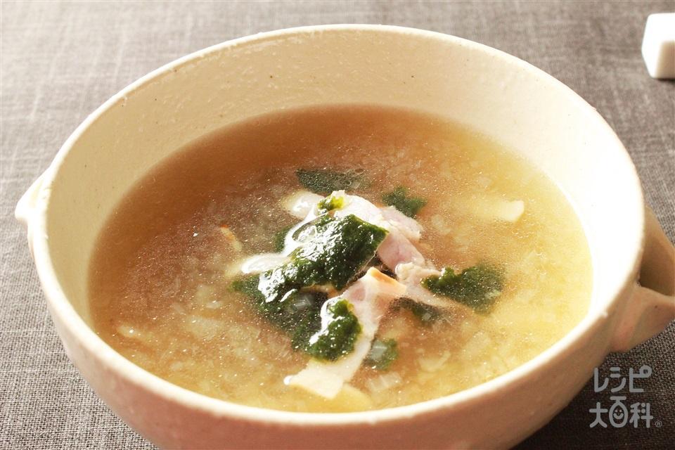 ベーコンと焼きのりのスープ(ベーコン+玉ねぎを使ったレシピ)