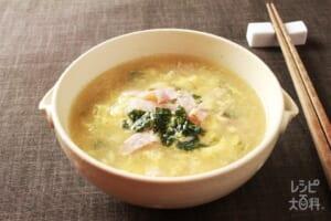 ベーコンと焼きのりのたまごスープ