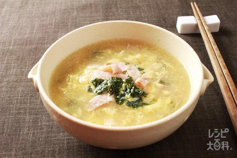 ベーコンと焼きのりのたまごスープ(玉ねぎ+卵を使ったレシピ)